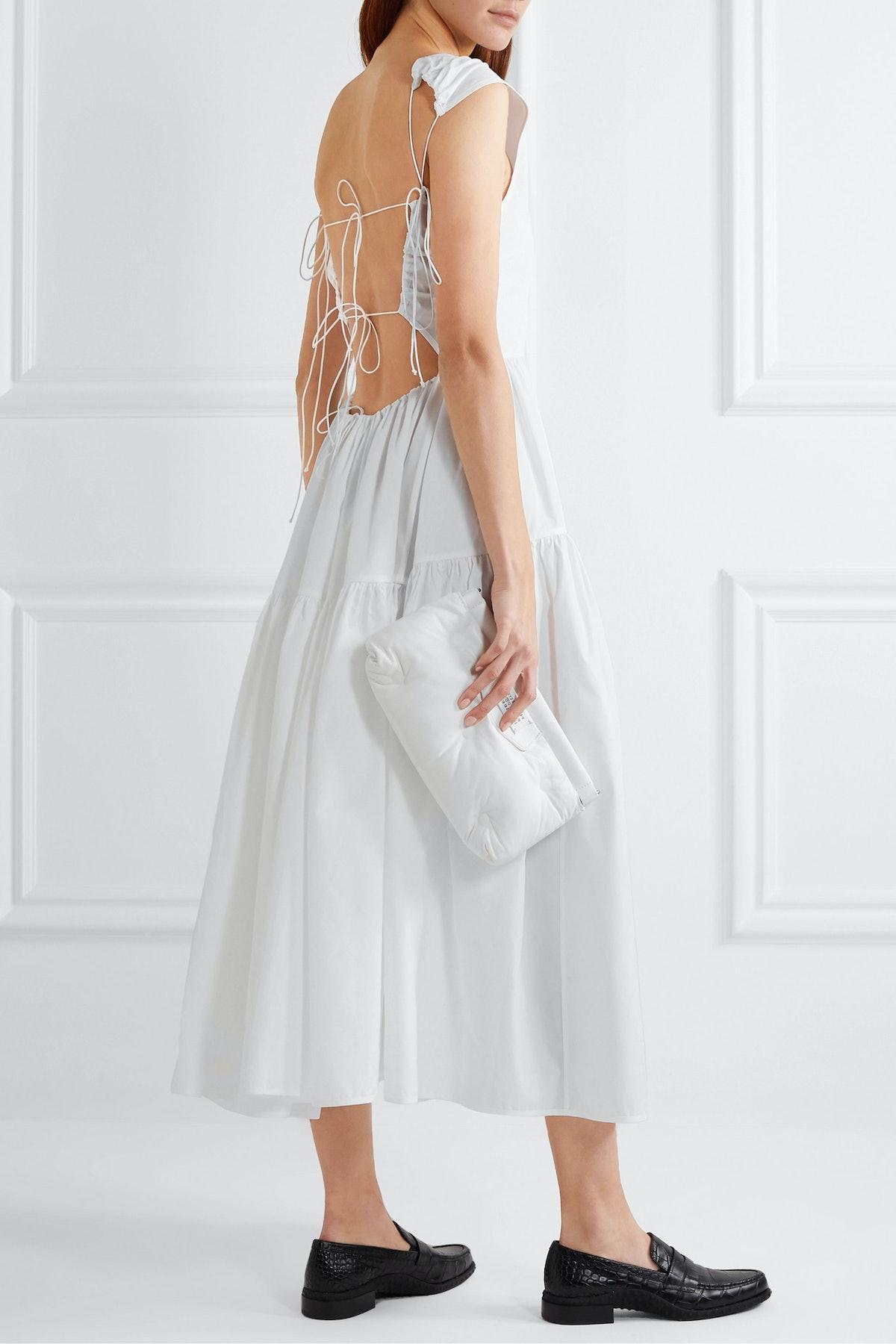 Ruth Tiered Open-Back Cotton-Poplin Midi Dress