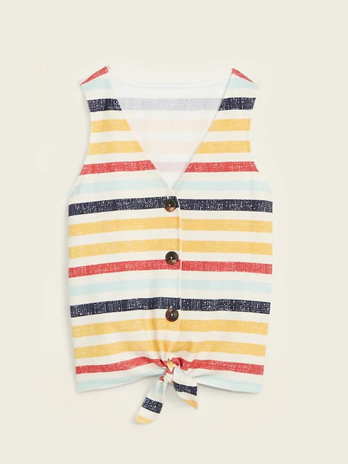 Cropped Tie-Hem Textured-Knit Sleeveless Top