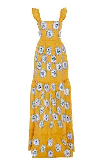 Herbarium Embroidered Linen Maxi Dress