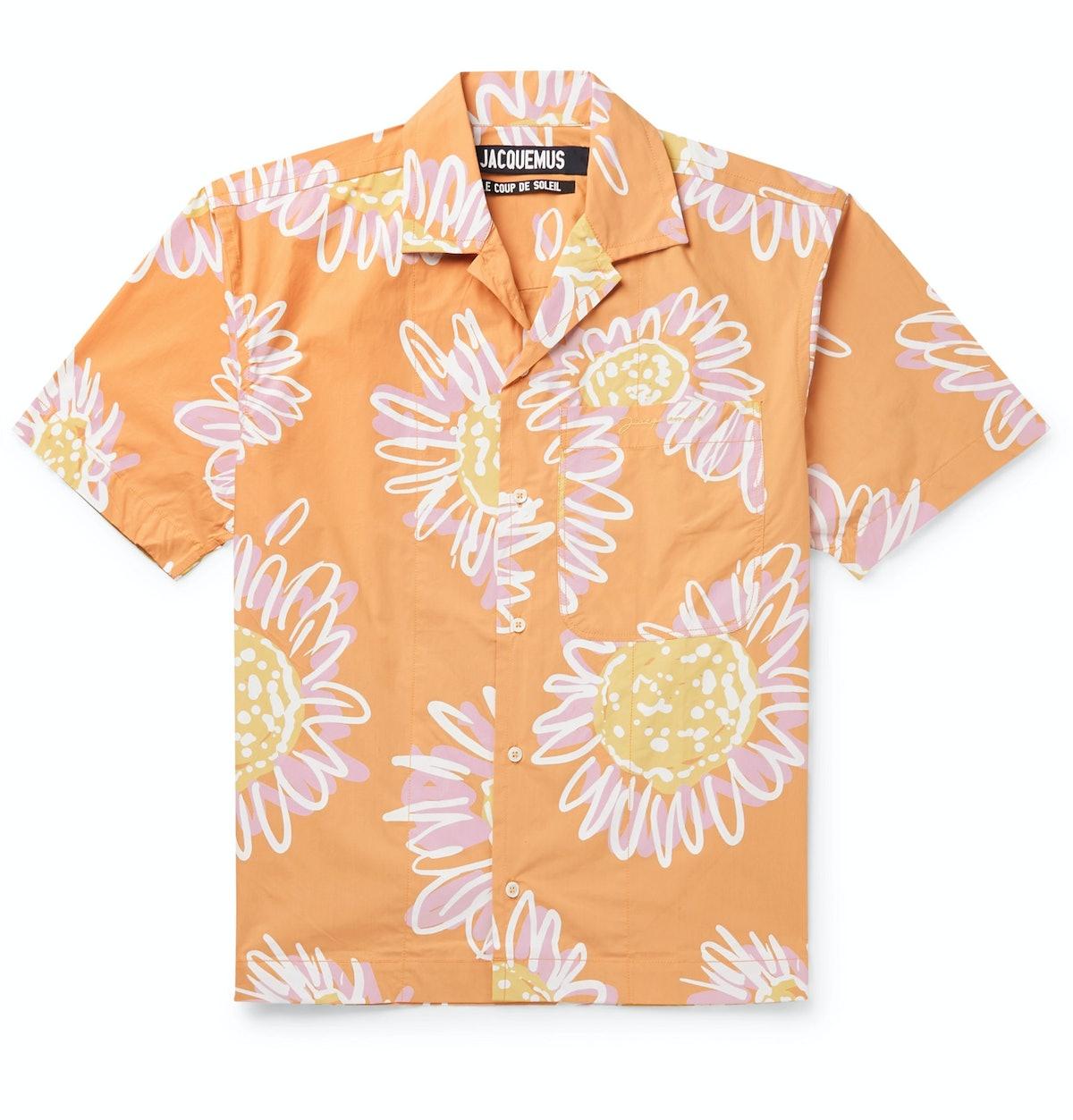 Jean Camp-Collar Printed Cotton-Poplin Shirt