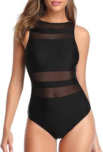 Holipick Mesh High Neck Swimsuit