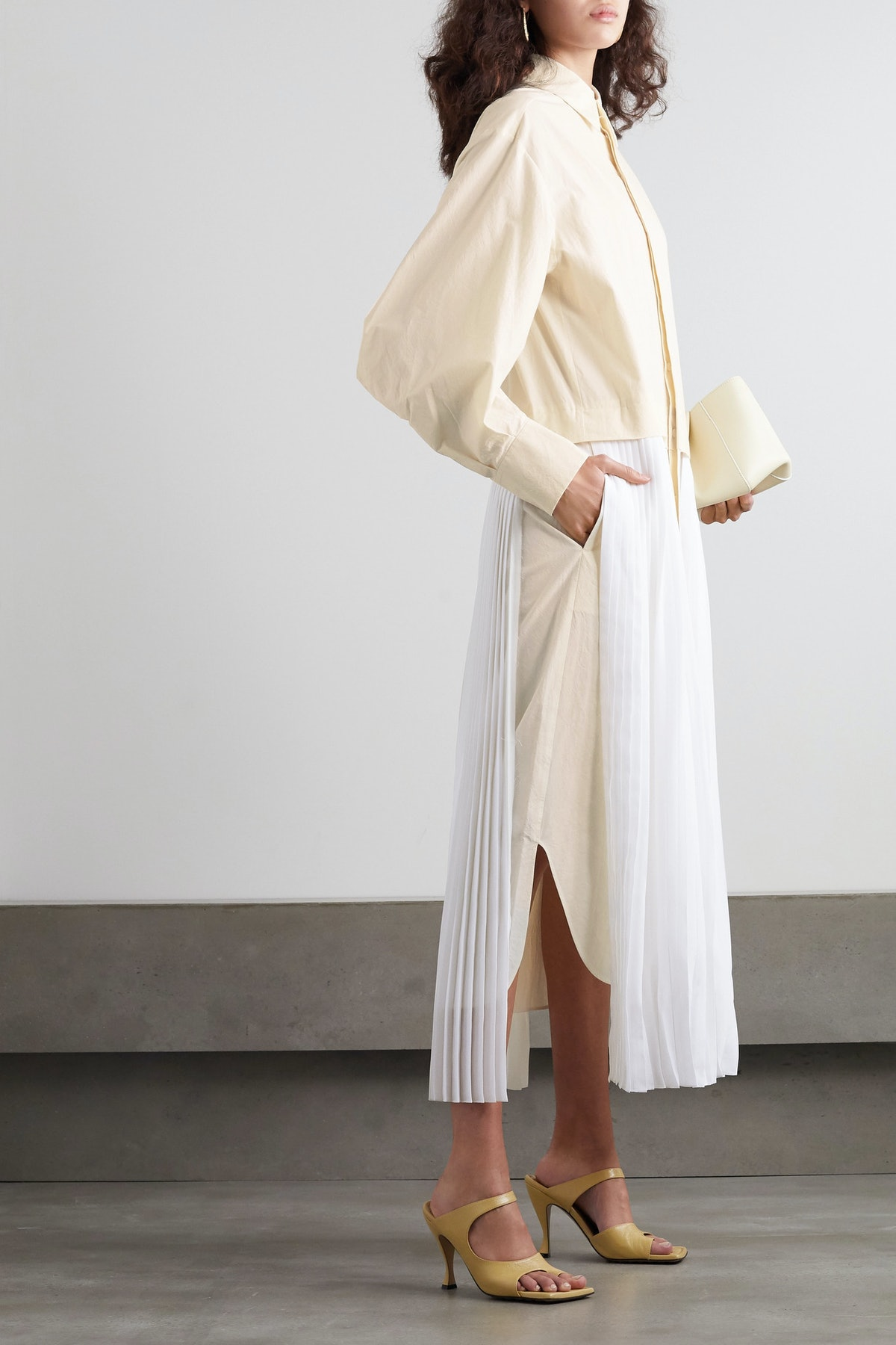 Pelagia Cotton And Pleated Silk Shirt Dress