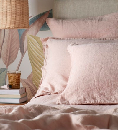 Blush Pink 100% Linen Double Duvet Cover