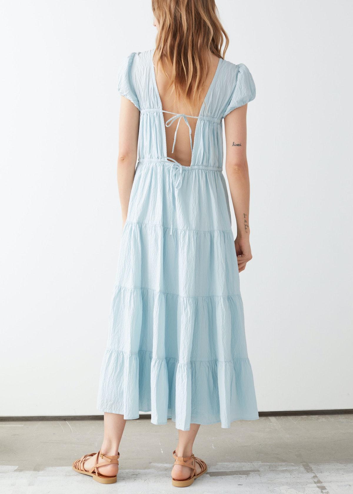 Voluminous Open Back Midi Dress