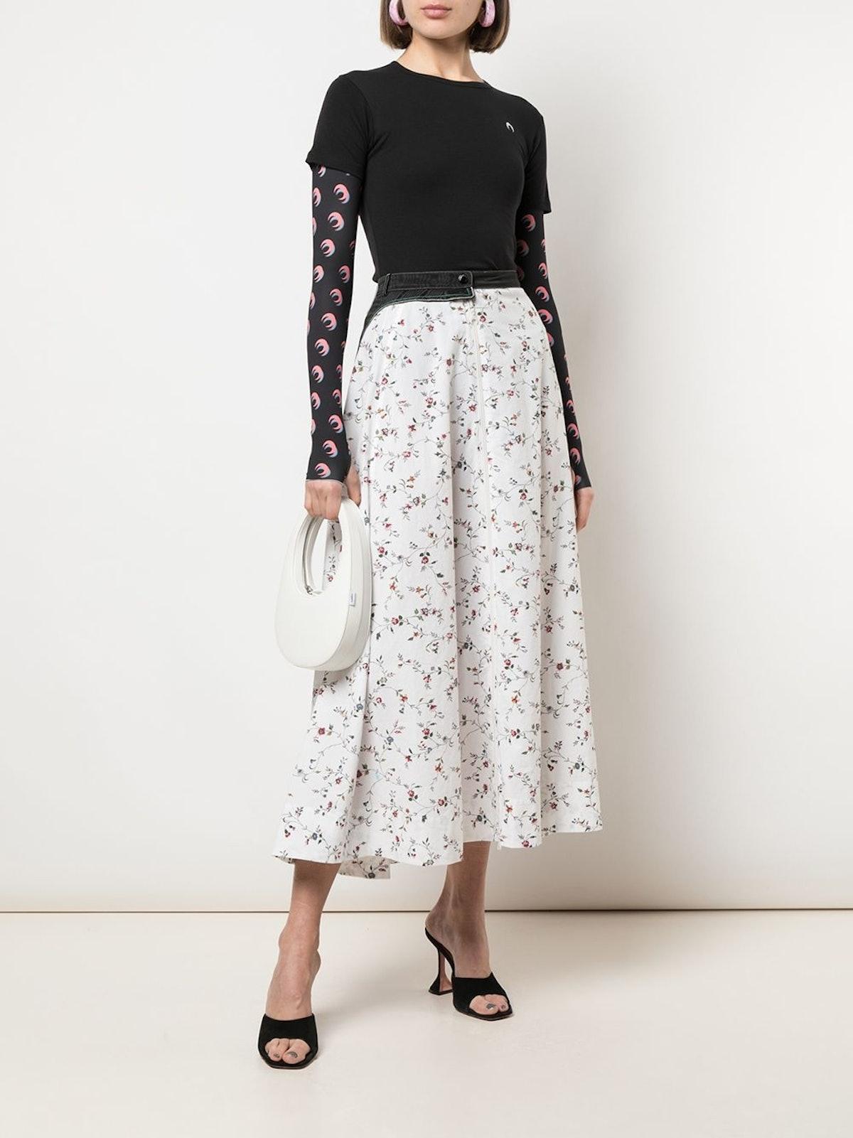 White Flower Print Midi Skirt 644