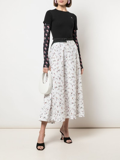White Flower Print Midi Skirt 644