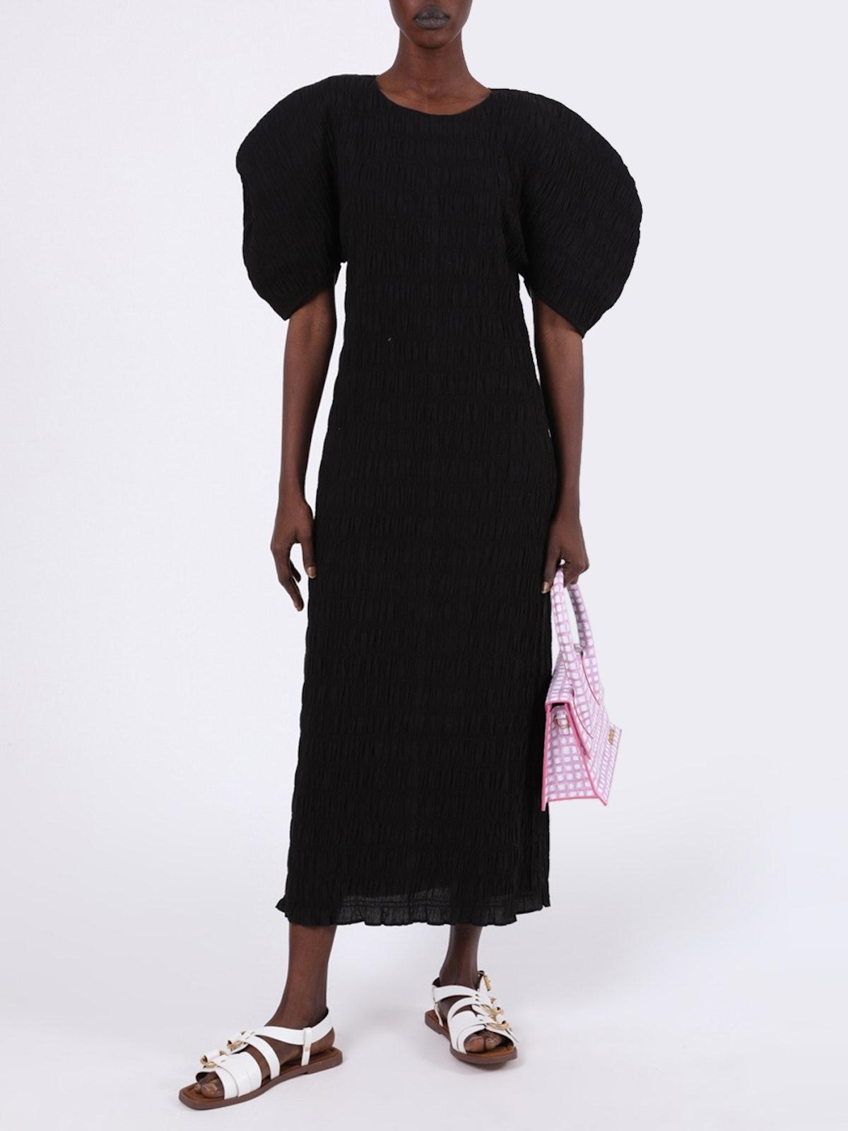 Aranza Pleated Midi Dress Black