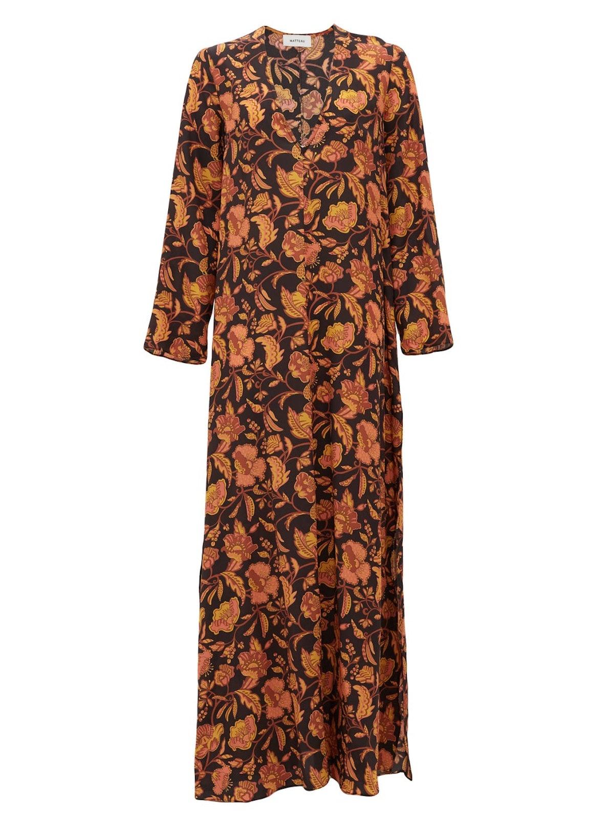 The Long Floral-Print Silk Maxi Dress