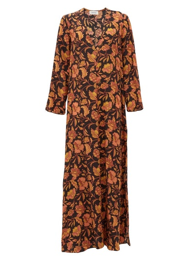 The Long Floral-Print Silk Maxi Dress