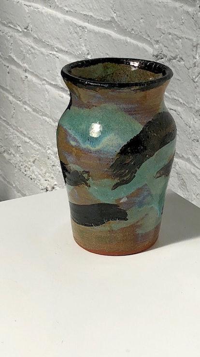 Vintage Handmade Multicolor Painted Ceramic Vase
