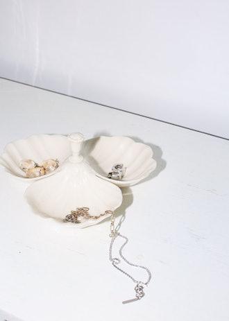Vintage Cream Ceramic Seashell Catchall Dish