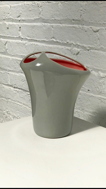 Vintage Grey & Pink Ceramic Vase