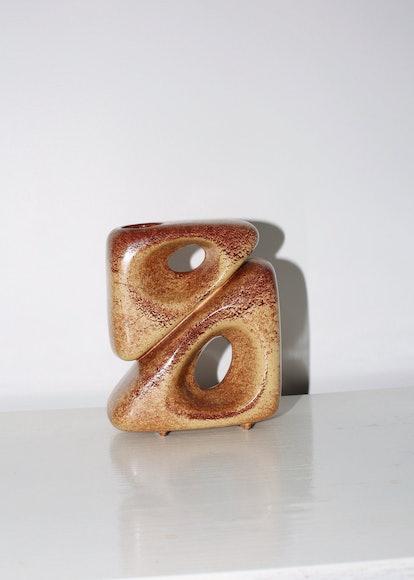 Vintage Brown Ceramic Bertoncello Vase