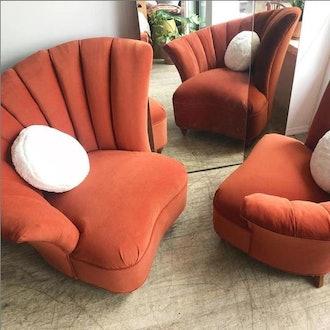 Deco Channel Back Asymmetric Club Chair