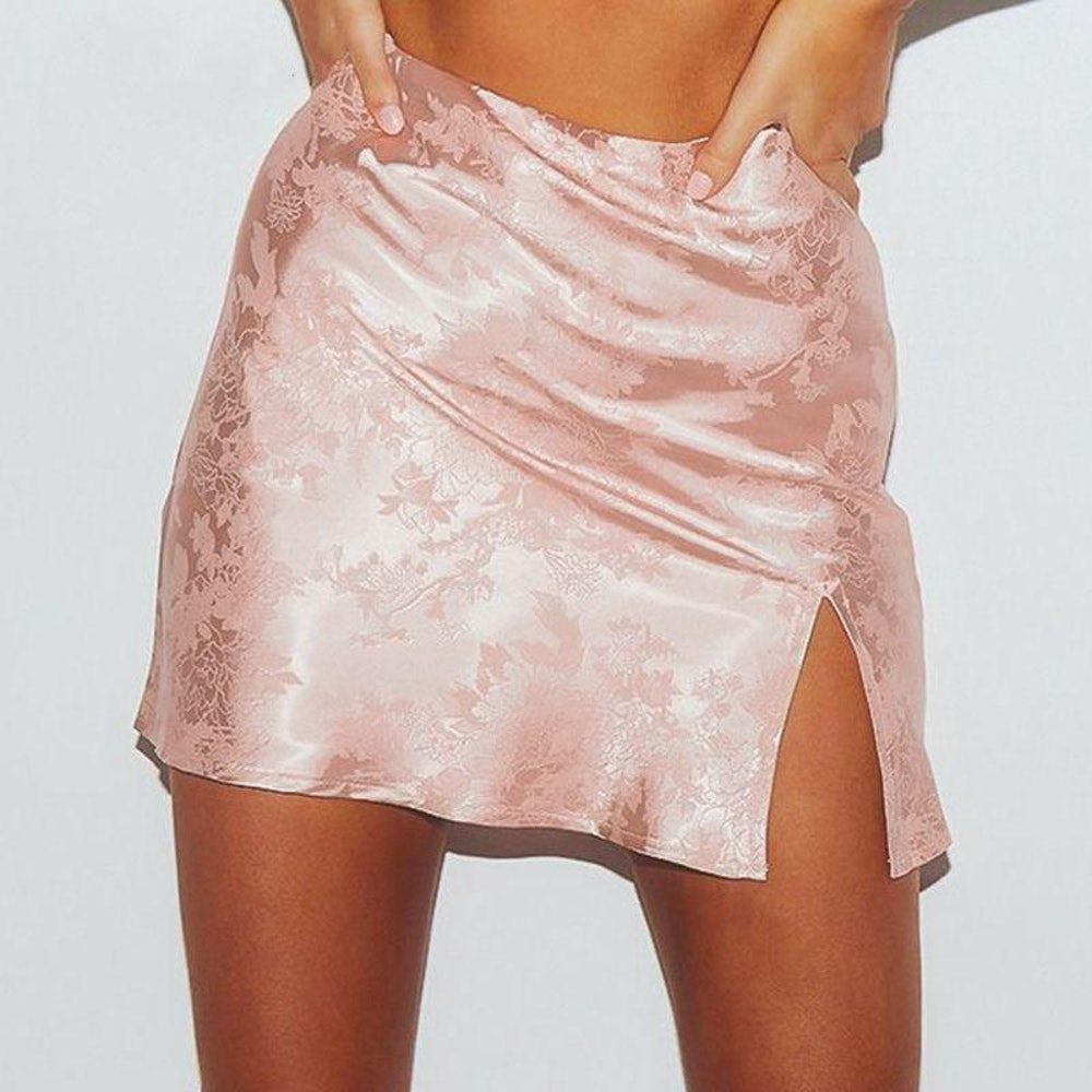 Satin High Waist Floral Print Design With Thigh Slit Mini Skirt