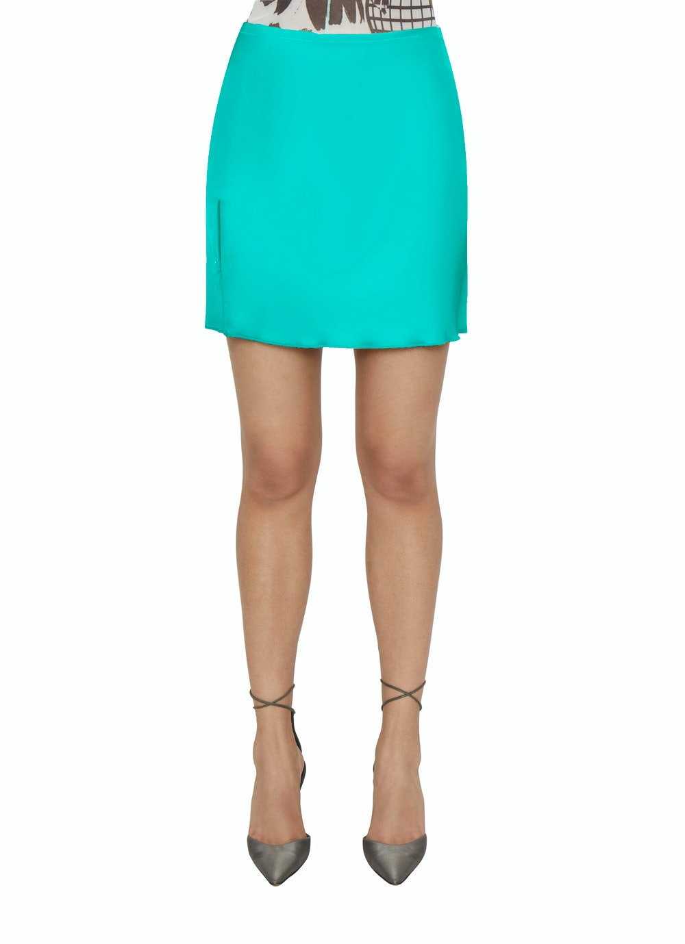 Satin Slit Miniskirt