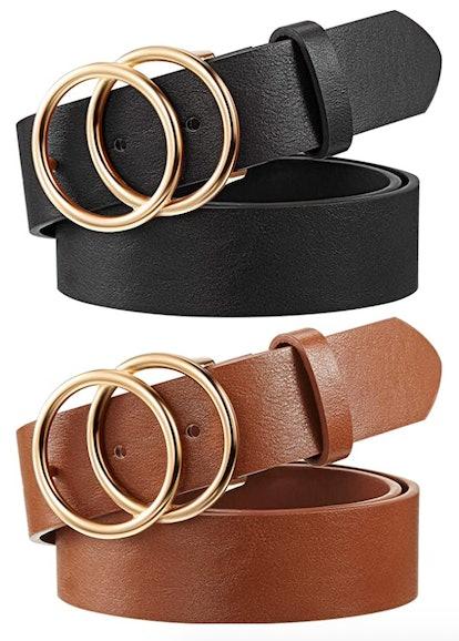 Syhood Women's Leather Belts (Set Of 2)
