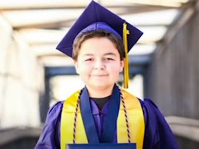 A 13-year-old boy just graduated college with four degrees.
