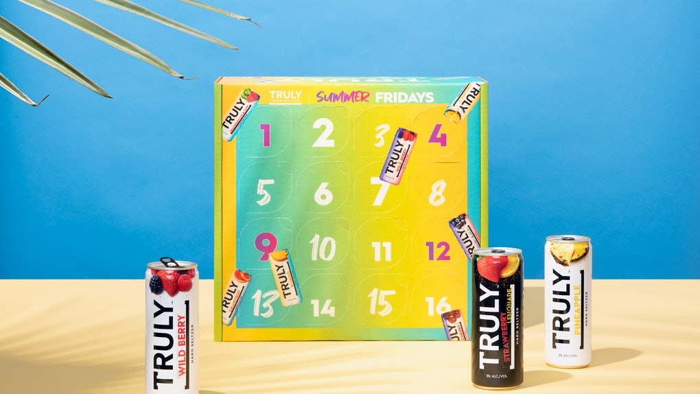 Truly's Summer Fridays calendar is colorful and includes 16 different flavors for summertime.