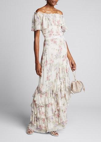Plum Off-the-Shoulder Floral Silk Dress