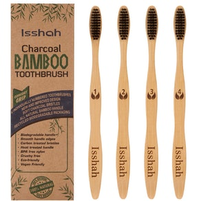 Isshah Biodegradable Bamboo Charcoal Toothbrushes (4-Pack)