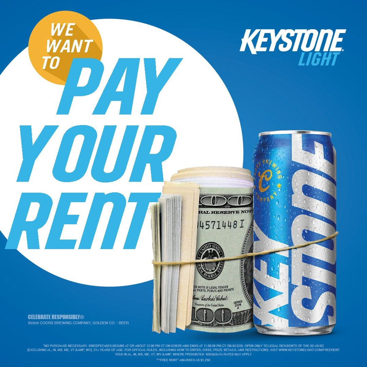 Keystone Light's free rent sweepstakes for July 2020 will award $1,250 to 25 people.