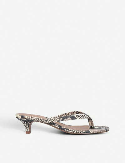 Who What Wear Siena Snakeskin-Effect Faux-Leather Sandals