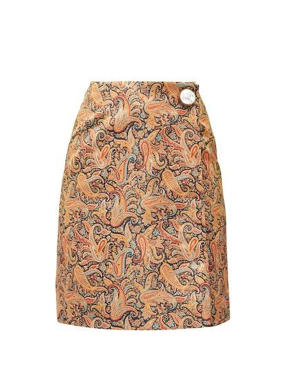 Paisley-Print Satin Mini Skirt