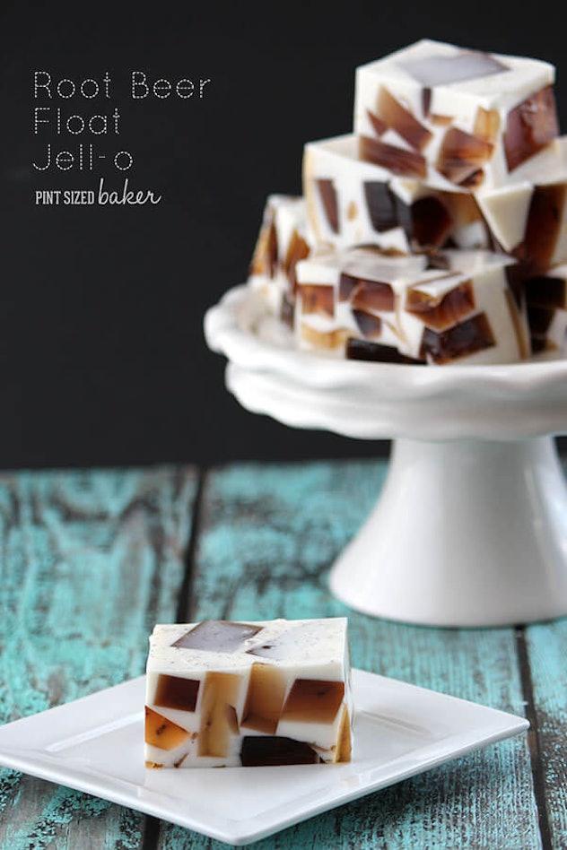 white jello squares with brown jello blocks inside