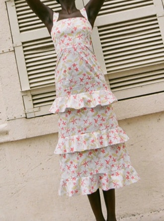Tiered Ruffle Dress In Blue Hibiscus