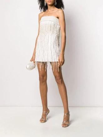 Embellished fringe mini dress