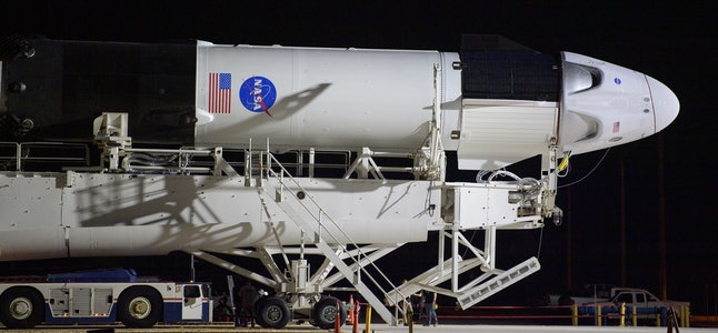 A SpaceX Falcon 9 rocket with the Crew Dragon spacecraft on board.