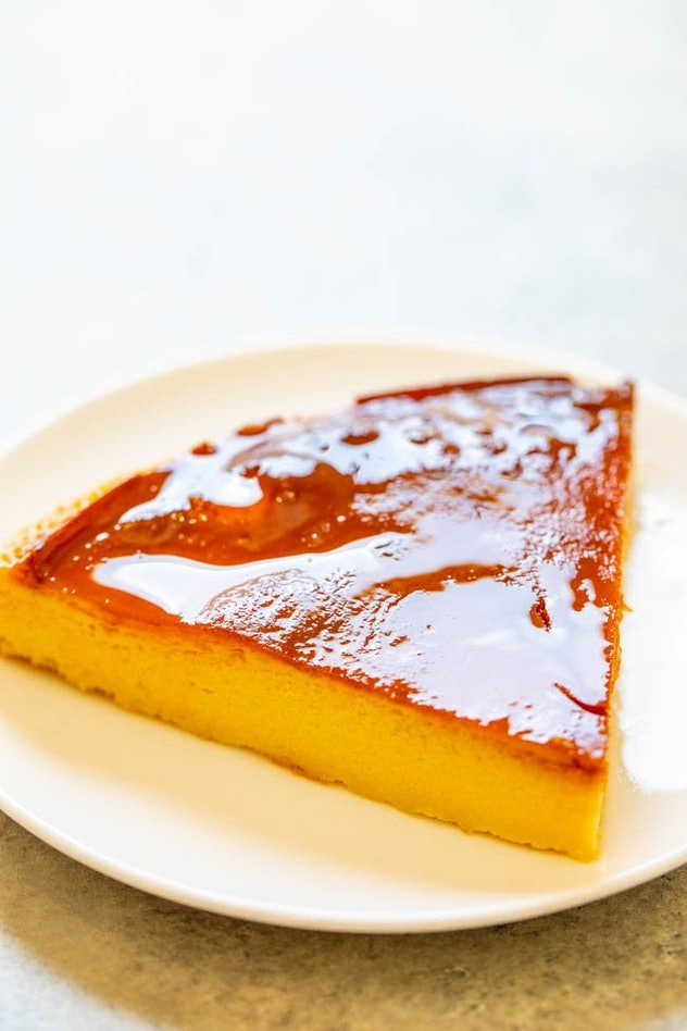 creamy flan covered in rich caramel