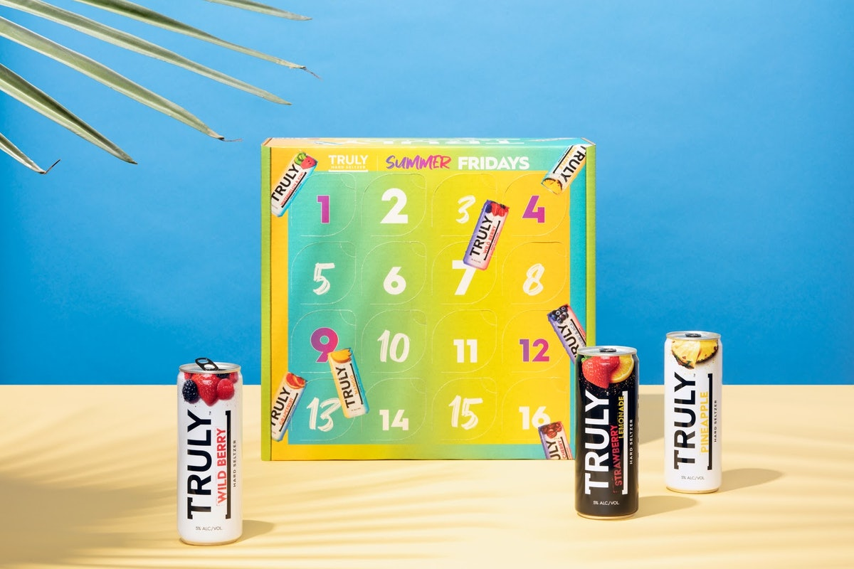 Truly Hard Seltzer's Summer Fridays calendar is colorful and gives you a new flavor to try every wee...
