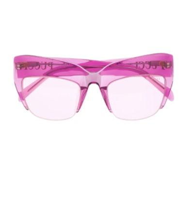 Semi-rimless Oversized Frame Sunglasses