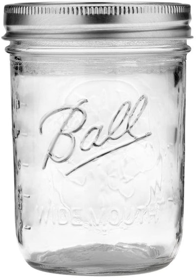 Ball Wide Mouth Pint 16-Ounce Glass Mason Jar with Lids and Bands (12-Pack)