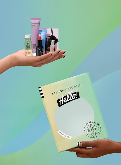 Lipstick, moisturizer, cleanser, and more from Sephora Favorites Hello! Beauty Icons set.