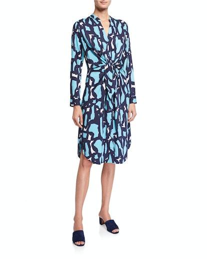 Petite Vivid Giraffe Tie-Front Dress