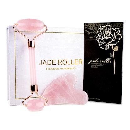 BAIMEI Jade Roller, Rose Quartz Face Roller & Gua Sha Set