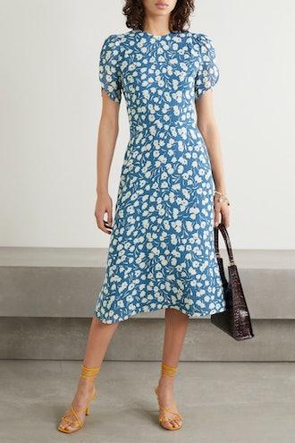 Andre Floral-Print Crepe Midi Dress