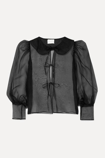 Emilie Tie-Detailed Silk-Organza Blouse