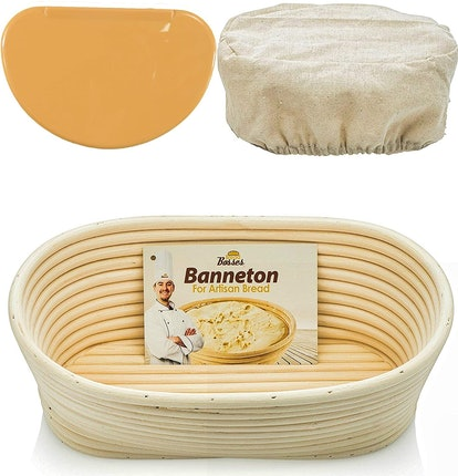 Bread Bosses Oval Bread Proofing Basket And Scraper Set