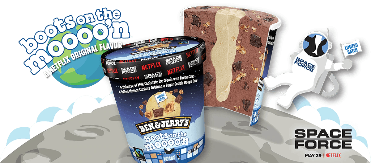 """Ben & Jerry's Boots on the Mooo'n """"Space Force"""" ice cream flavor is out of this world."""
