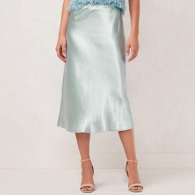 LC Lauren Conrad Satin Slip Midi Skirt