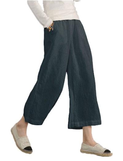 Ecupper 100% Linen Ankle Pants