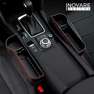 Inovare Design Leather Car Seat Gap Filler With Cup Holder (2-Pack)