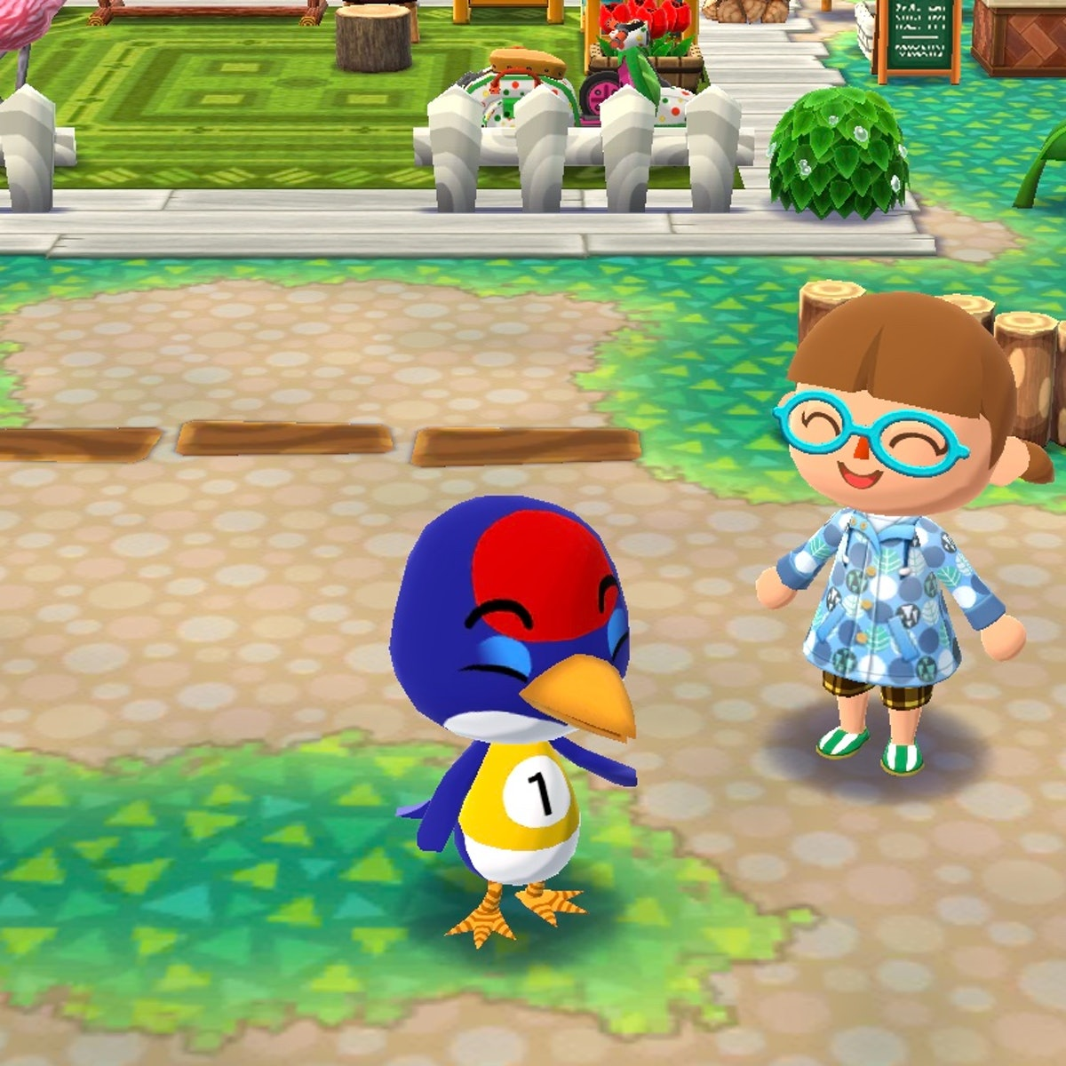 Jay from 'Animal Crossing' smiles while wearing a sporty shirt in the video game.