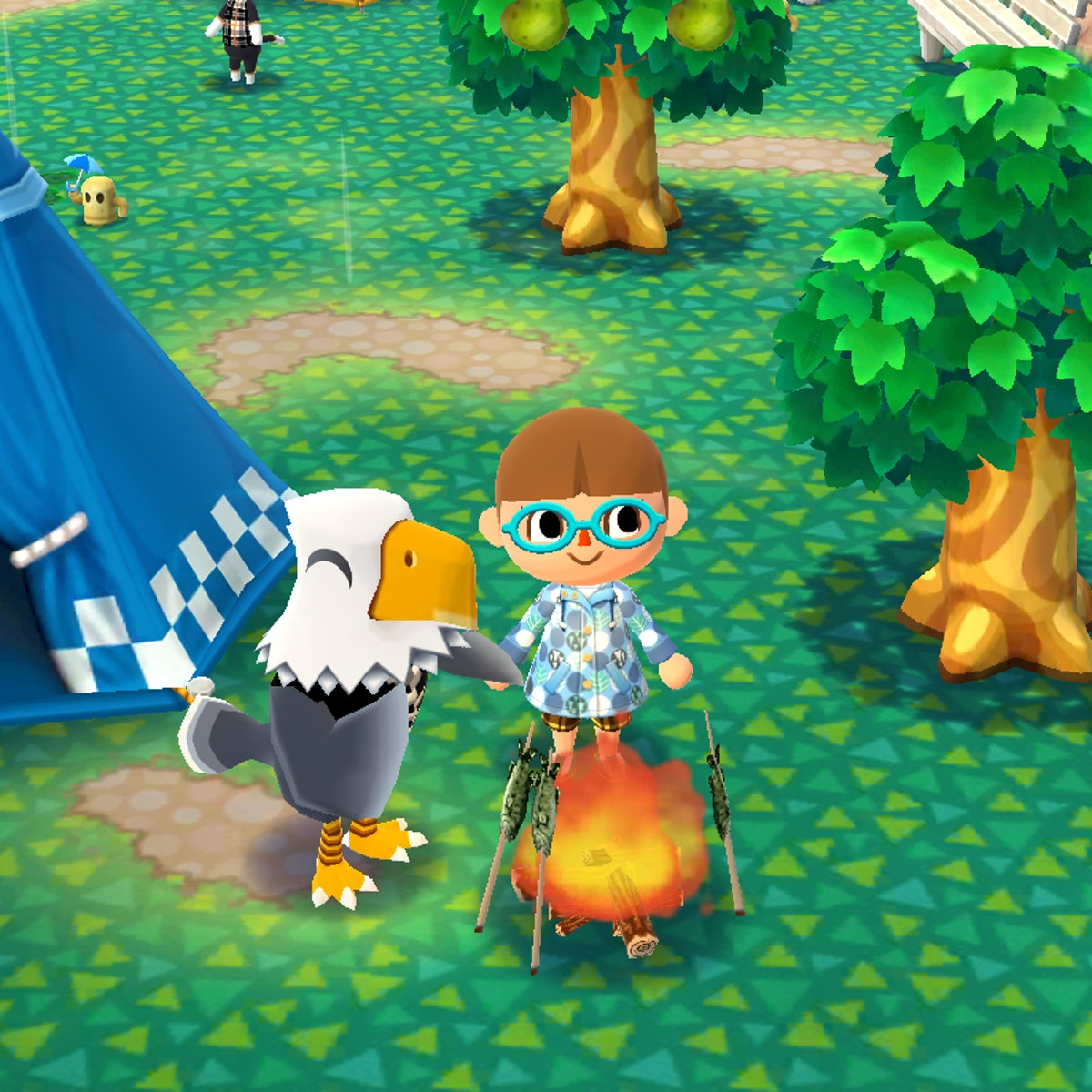Apollo from 'Animal Crossing' hangs out near a campfire in the video game.