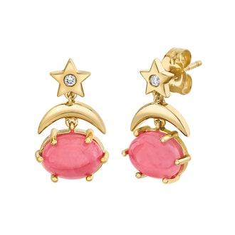 Mini Cosmo Rhodochrosite Drop Earrings
