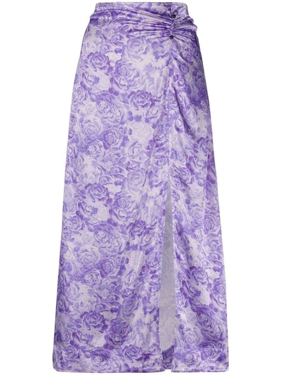 Purple Rose Print Slip Skirt